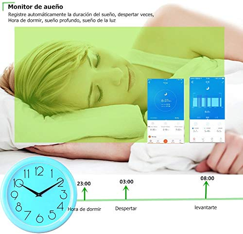 MISSJJ Reloj Inteligente para Mujer Hombre Niños, Pulsera Actividad Impermeable IP67, Podómetro, Control Remoto de… 7
