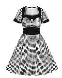 結婚式 ドレス パーティードレス レトロワンピース 膝丈あす楽 ロカビリー 半袖 Aライン 膝丈 50年代 お呼ばれ スイングワンピース レディース シンプル 着痩せ ワンピース チュニック 女性の50代のベルト付きポルカドットのオードリー・ヘップバーン50 sロカビリー・スウィングドレス (黑4, M)