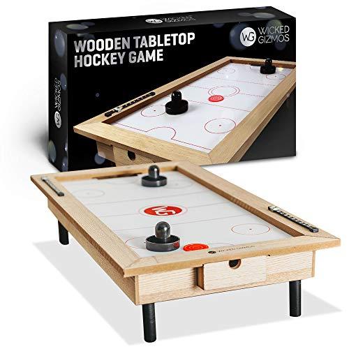 Wicked Gizmos Holz-Tischspiele, Hockeyspiel, groß, hochwertig, aus Holz, Sport-Brettspiel mit 2 Pucks und 2 Paddeln (Hockey)