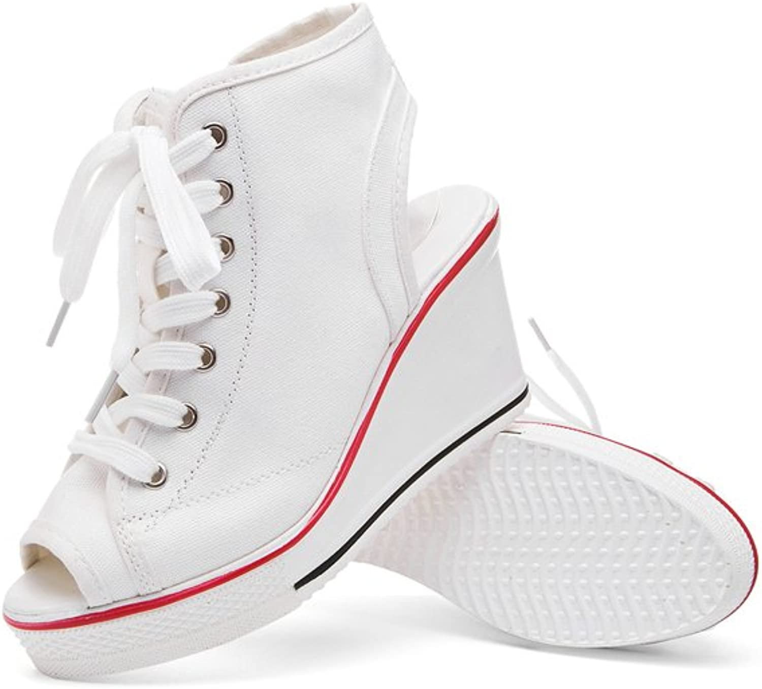 IINFINE Women's High Top Wedges shoes Belt Buckled Zip Lace Up Fashion Sneakers