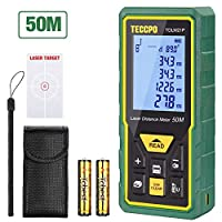 Telémetro láser 50m, TECCPO Medidor láser, Decoracion interior, Sensor de ángulo electrónico, m/in/ft/ft+in, Función de silencio, 30 Datos, Distancia, área, volumen de Pythagore, ángulo, IP54, TDLM21P