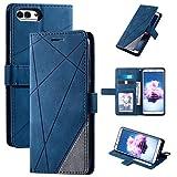 Funda para Huawei Enjoy 7S Funda protectora de cuero ,Funda para Huawei P Smart FIG-L03 FIG-LX2 FIG-L21/L22 FIG-LX1/LX3 FIG-LA1 / Honor 9 Lite LLD-L22A LLD-L31 / Nova Lite 2 Funda Carcasa Case Blue