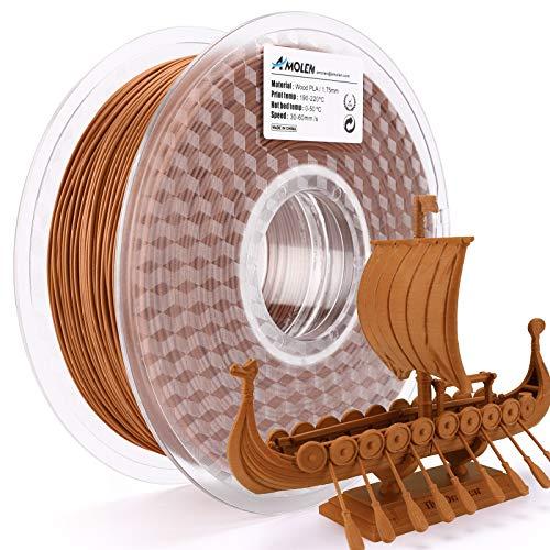 AMOLEN Stampante 3D Filamento PLA 1.75mm, Filamento di Legno Rosso 1KG, Red Wood Materiali di Stampa 3D Incluso il 20% di Vera Fibra di Legno