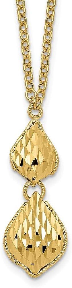 14k Yellow Gold Fancy Diamond-cut Y Drop Necklace, 17