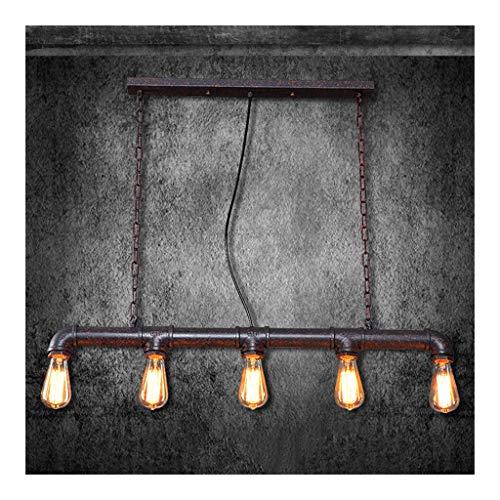 LJF Lampe . Lámpara colgante de hierro forjado para cachimba de agua, estilo vintage, industrial, para café, bar, salón, dormitorio, restaurante, 5 cabezales, E27