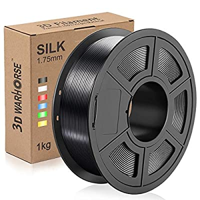 Silk PLA Plus Filament, 1.75mm 3D Printer Filament, Shiny Metallic Silk PLA+ 3D Printing 1KG Spool, Dimensional Accuracy +/- 0.02mm, Black