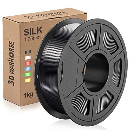 Silk PLA Plus Filament, 1.75mm 3D Printer Filament, Shiny Metallic Silk PLA+ 3D Printing 1KG Spool, Dimensional Accuracy +/- 0.02mm, Black