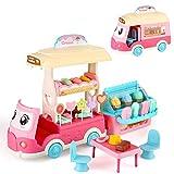 BeebeeRun Coche de Helados 50 Piezas de Juguete de Tienda de Dulces con Caramelo y Helado de Juguete para niños...