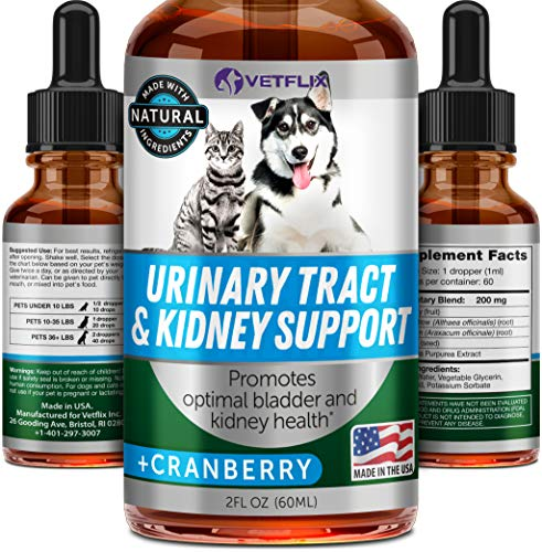 Vetflix Cranberry Dog & Cat UTI Treatment - Best UTI for Pets - Made in USA - Dog & Cat Kidney Support - Cat Bladder Drops - Pet Immune Health Supplement - Marshmallow, Dandelion Root, Pumpkin Seed