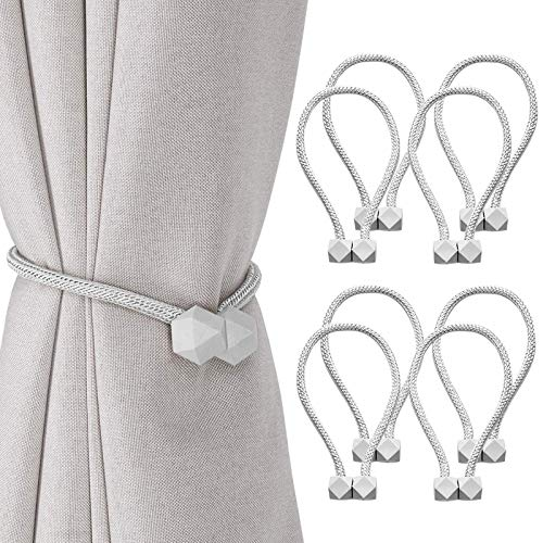 2Buyshop 8 PCS Magnetic Curtain Tiebacks, European Style Convenient Drape Tie Backs, Decorative Drape Tie Backs Holdback Holder for Window Draperies,No Tools Required