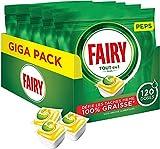 Fairy - Lavavajillas Peps todo en 1 Plus limón, 120 cápsulas