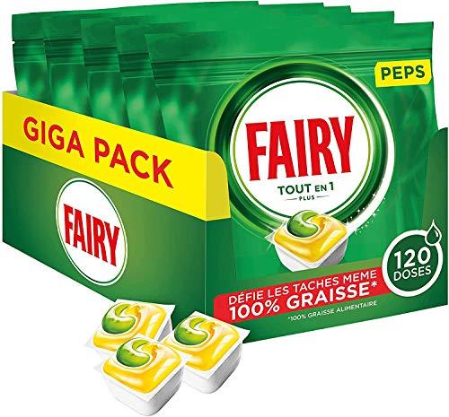 Fairy Tout-en 1 Plus Pastillas Lavavajillas Peps Limón Descubre las manchas más coriaces, 120 dosis (5 x 24)