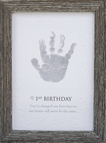 The Grandparent Gift Baby's First Birthday Keepsake Kit for Hand or Footprint Farm House Style Frame, Grey