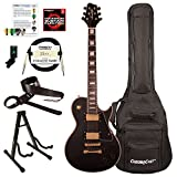 Sawtooth Heritage Series Maple Top Electric Guitar with ChromaCast Gig Bag & Accessories, Satin Black