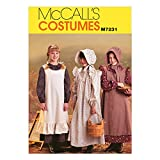 McCall's M7231 Girl's Pioneer Costume Dress and Hat Sewing Pattern, Sizes 7-8