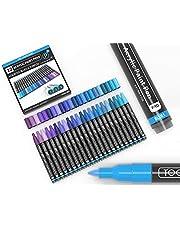 Acryl verf pennen 22 verschillende blauw en paars Pro Colour Series Markers Set 0,7 mm Extra fijne tip voor rotsschilderen, glas, mokken, hout, metaal, canvas, doe-het-zelf projecten, niet giftig, waterbasis, sneldrogend
