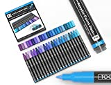 Acrylic Paint Pens 22 Assorted Pro Color Series Markers Set 0.7mm Extra Fine Tip for Rock Painting, Glass, Mugs, Wood, Metal, Canvas, DIY Projects, Non Toxic, Waterbased, Quick Drying (Blue)