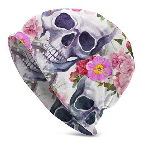 Linger In Beanie Cap, Human Skulls Flowers Dia De Muertos, Gorro de Punto Holgado Gorro con puños Calientes para Adultos