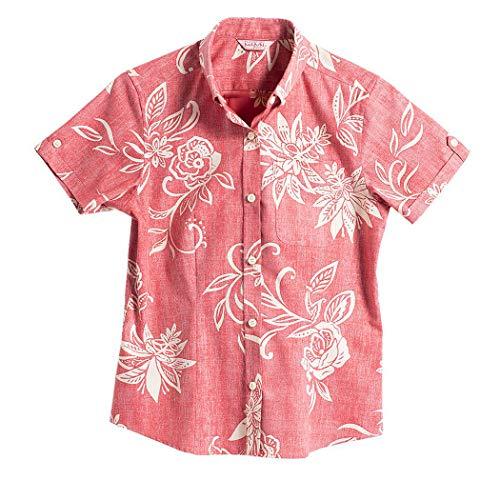 [MAJUN (マジュン)] 国産シャツ かりゆしウェア アロハシャツ 結婚式 レディース シャツ ボタンダウン でいごゆうな レッド M