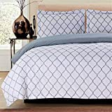 Lux Decor Collection Duvet Cover Set, 1800 Count Egyptian Quality King Soft Premium Bedding Collection, 3 Piece Luxury Soft, 2 Pillow Shams (White/Grey, Full/Queen)
