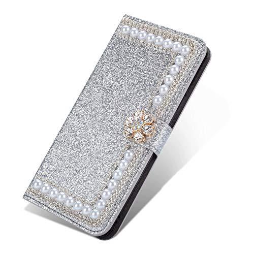 Nadoli Leder Hülle für Huawei P40 Pro,Bling Glitzer Diamant 3D Handyhülle im Brieftasche-Stil Blume Perle Flip Schutzhülle Etui für Huawei P40 Pro,Silber