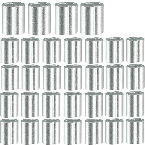 200PCS Aluminium-Doppelhülsen, Rostfrei, für Expanderseil,Pressklemmen für Seile, Draht Seilverbinder, Drahtseilklemmen