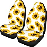 POLERO Wonderful Car Seat Covers White Background Sunflower 2pcs Saddle Blanket Elastic Easy Install Remove Washable Cover Durable Soft Comfortable Decorative Protector Fits Most Car Front Seats