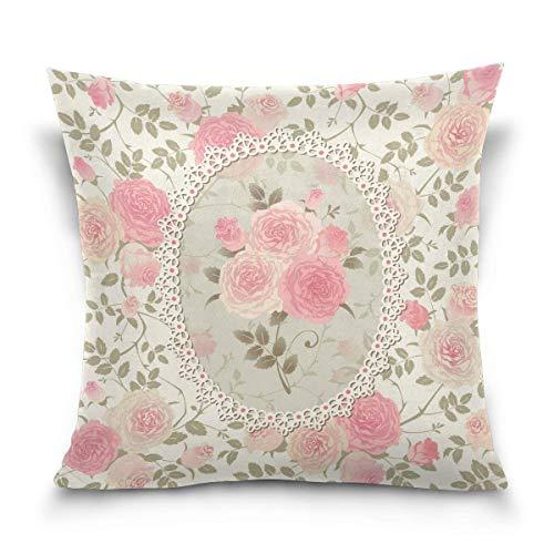 Funda de cojín estilo Shabby Chic con diseño floral, color rosa y rosa (40,6 x 40,6 cm) con dos lados