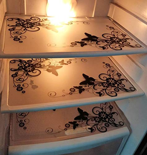 LOOMANTHA miles to go. PVC Black & White Printed Classic Pack of 3 Fridge/Refrigerator Drawer Mat