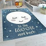 Paco Home Alfombra Habitación Infantil Niña Lavable Estrellas Luna Adorable Frase Azul, tamaño:120x160 cm