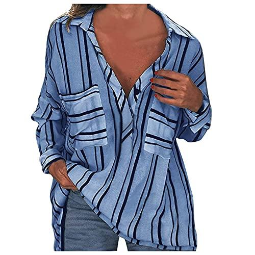 YANFANG Camiseta De Rayas con Mangas Enrolladas, Camisa Cuello En V Y Botones,Mujeres Manga Enrollada BotóN Blusas Top,Blusas Elegantes,Blusas Verano Talla Grande,Camiseta BáSica-Azul-M