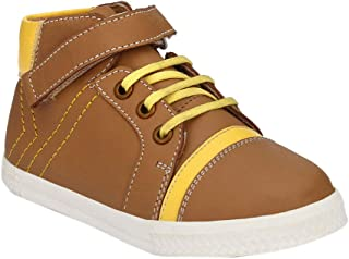 Hopscotch Tuskey Shoes Boys Genuine Leather Ankle Length Boots in Tan Color