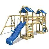 WICKEY Aire de jeux Portique bois SunFlyer avec balançoire et toboggan bleu, Maison enfant exterieur avec bac à sable, échelle d'escalade & accessoires de jeux