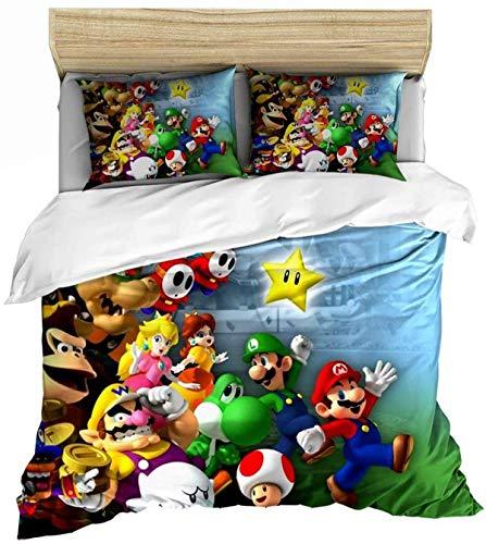 QWAS Super Mario Bros - Juego de funda nórdica y funda de almohada (06,200 x 200 cm + 80 x 80 cm)