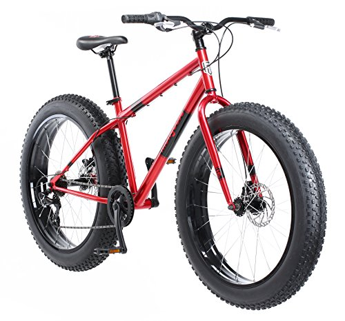 Mongoose Dolomite Fat Tire Mens Mountain Bike,17-Inch/Medium High-Tensile Steel Frame, 7-Speed, 26-inch Wheels, Red