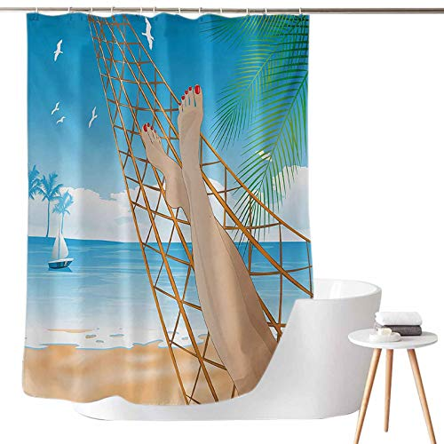 Shower Curtains with Blue and Green Legs of The Sexy Lady Laying in The Hammock Toward The Ocean in Hawaiian Tropical W69 x L72 for Master Bathroom, Kid's Bathroom, Guest Bathroom