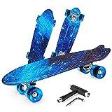 Beleev Skateboards for Kids Teens Adults, 22 inch Cruiser Complete Skateboard for Beginners Girls Boys, Classic Mini Skateboard with Custom Non-Slip Fishtail Deck, Galaxy Blue