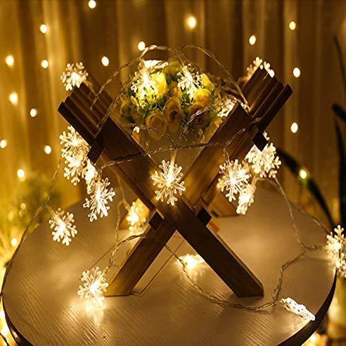Cadena De Luces USB, LED Twinkle Star Copo De Nieve Cortina Luces De Cadena Luces Colgantes Para Decoraciones De Pared De Techo Jardín Navidad Batería Luces De Cadena De Hadas,6 m 40 lights,warm white