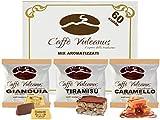 Caffè Vulcanus - Kit assaggio 60 cialde compostabili ESE44 di caffè aromatizzati - Degustazione caffè al gianduia, tiramisù e caramello