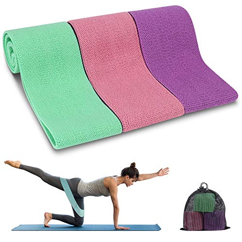 Resistance Bands, TEUMI Fabric Workout Bands for Legs/Butt/Thigh, Strength Training Elastic Booty Bands, Wide Non-Slip Hip Exercise Bands Resistance Loop for Yoga, Pilates, Squats, Home Gym (Set 3, Carry Bag)