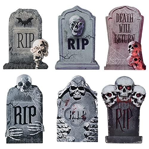 Decorlife Tombstones Halloween Decor, 6 Pack RIP Graveyard Decorations for Halloween, Grave Stones Yard Signs with Stakes for Halloween Decorations Outdoor Lawn Cemetery Decor