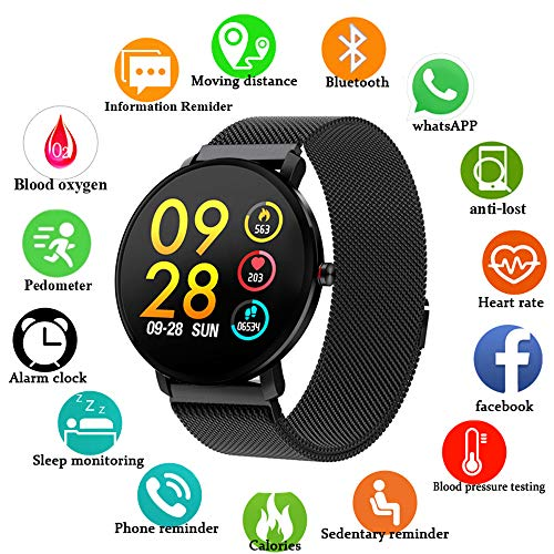 Smartwatch for Android Phones iOS 2019 Waterproof IP68 Fitness Tracker Watches for Men Gift Sports Watch Swimming Heart Rate Blood Pressure Weather Report Pedometer Social App Calls Phones Reminder