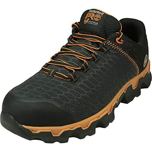 Timberland PRO Men's Powertrain Sport Alloy Toe EH Industrial & Construction Shoe, Black Synthetic/Orange, 11 M US