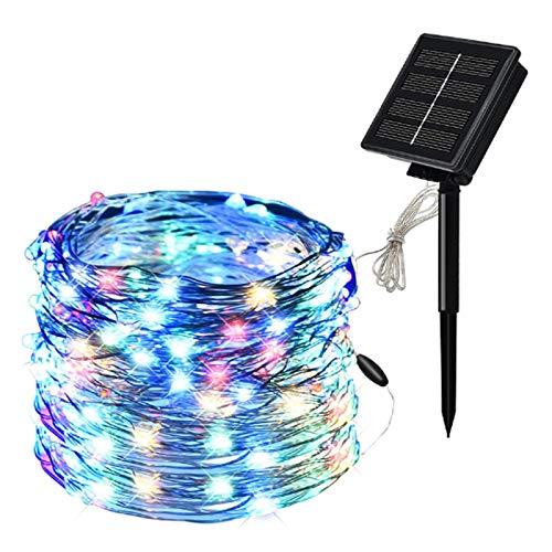 ZBM--ZBM Solar Copper Wire String Lights 100/200LED 10/20m Christmas Decoration Outdoor Garden Colored Lights Holiday Wedding Garden Lights Luces de hadas (Color : Colorful, Size : 20m200leds)