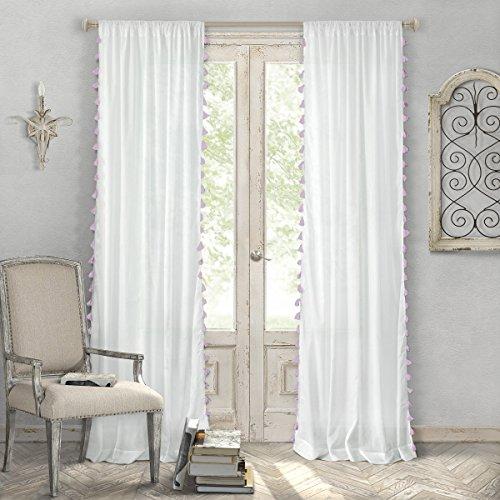 "Elrene Home Fashions Bianca Semi-Sheer Rod Pocket Window Curtain Panel with Tassels, 52"" x 84"" (1, Blush"