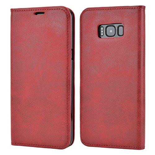 Mulbess Funda Samsung Galaxy S8 Plus [Libro Caso Cubierta] Slim de Billetera Cuero Carcasa para Samsung Galaxy S8 Plus / S8+ Case, Vino Rojo