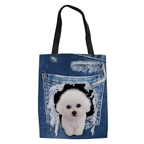 HUGS IDEA Bichon Frise Dog Print Canvas Shoulder Bags Tote Shopping Handbag...