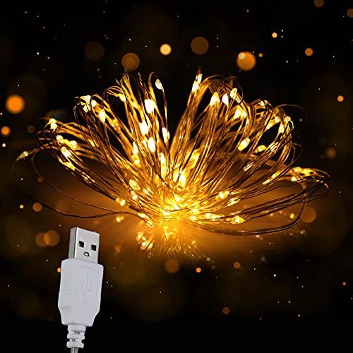 MAOVII Cadena de luces USB, 12 m, 120 ledes, para interior y exterior, decoración de fiestas, jardín, festivales, bodas, iluminación decorativa (blanco cálido)