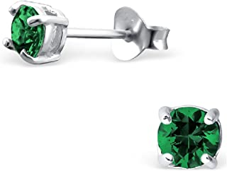 925 纯银低*性 4 毫米圆形深绿色方晶锆石耳钉 997
