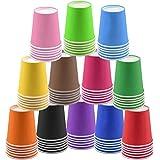 120 bicchieri di carta usa e getta per feste, da 266 ml, multicolore, biodegradabili, per vacanze e matrimoni fai da te, 12 colori